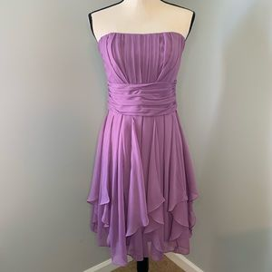 Strapless purple dress with built in bra